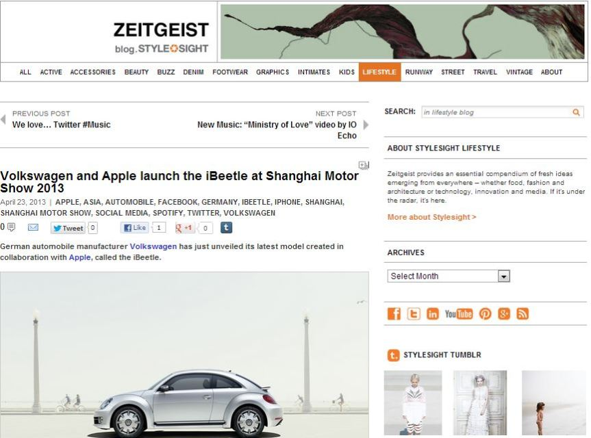 stylesight zeitgeist blog - volkswagen and apple